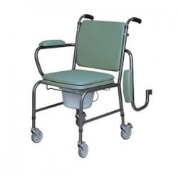 Chaise perçée à roulettes hauteur réglable et accoudoirs escamotables