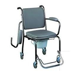 Chaise perçée à roulettes, hauteur fixe et accoudoirs escamotables